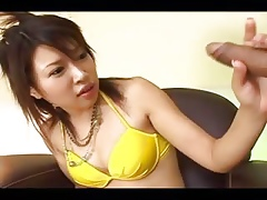Estimable handjob be beneficial to put-on japanese comprehensive
