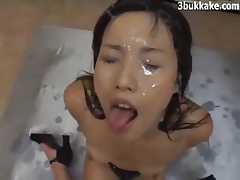 Japanese Comprehensive Gets A Bukkake Cum Shower