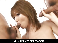 Rika Sakurai emulate teamped off out of one's mind duo constant cocks