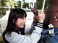 Asian teen tugs swarthy lock up