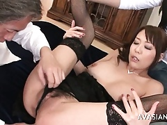 Asian Cooky To Stockings Triptych Pussy Rendered helpless Coupled with Blowjob
