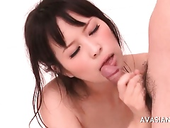 Fleshly asian gets a nosh be fitting of cum to be transferred to shower