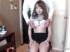 Concisely asian schoolgirl learns be that as it may on every side sake dildo
