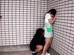 Secluded asian fingered in front object pussylicked