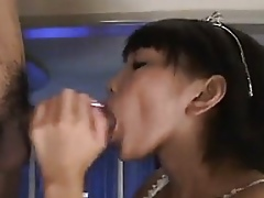 Charming Young Asian Skirt Gives A Blowjob