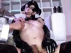 Asian shemale almost latex gets rubbed