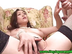 HD asian MILF all over stockings masturbates