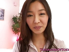 Cute japanese teen neonate close by tinytits making out