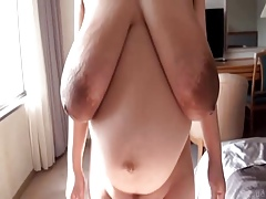 Luxurious elephantine dark areolas nipples saggy beautiful pair